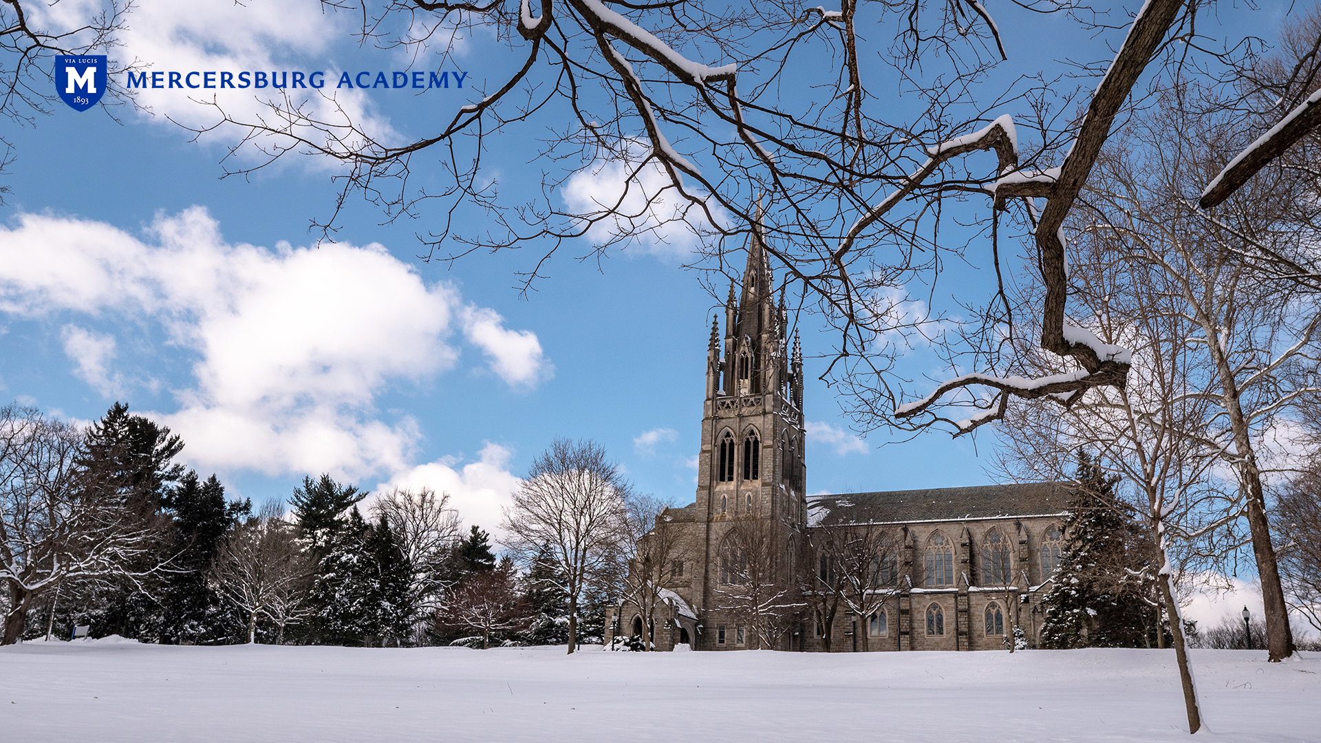 Irvine Memorial Chapel on a snowy day