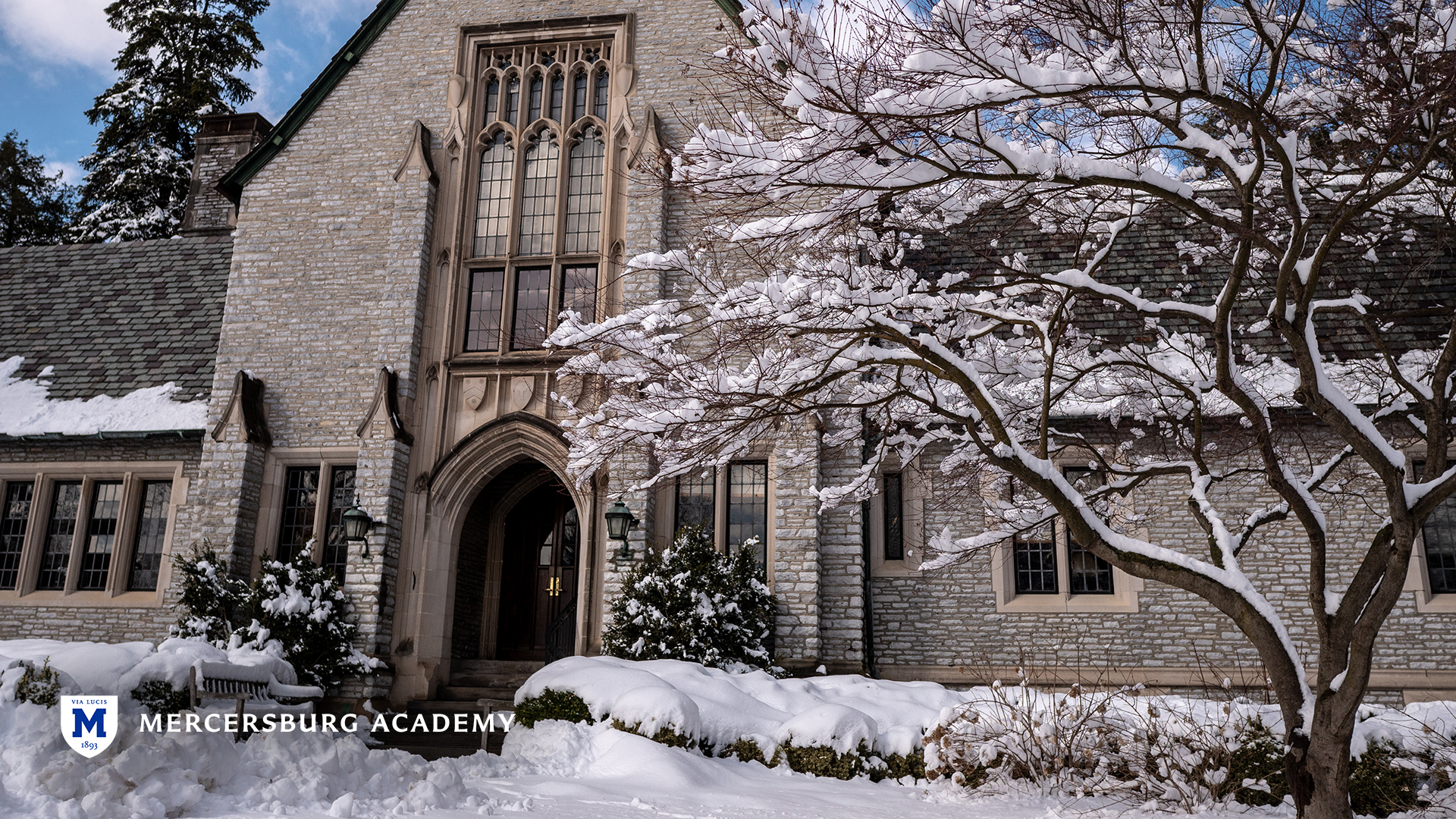 Traylor Hall in the winter at Mercersburg Academy