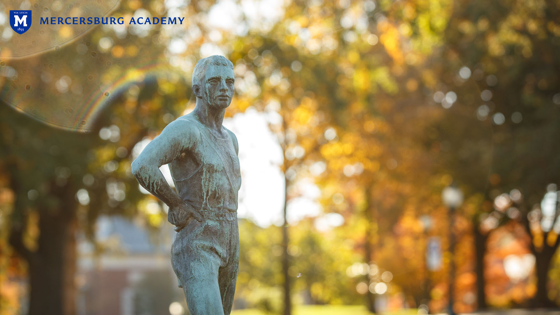 Statue in front of Traylor Hall at Mercersburg Academy campus